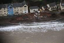 Dawlish aerial view of 2014 damage