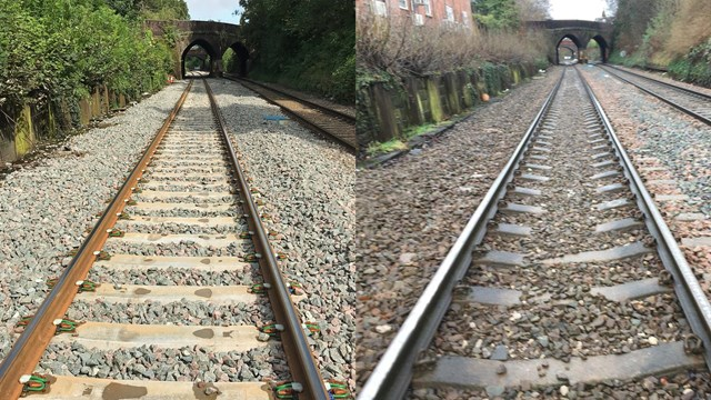Track upgrade means faster and reliable journeys for passengers on the Mid-Cheshire line: Bleeding wolf track before and after