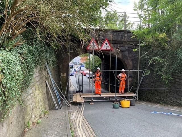 Scaffolding has been erected ahead of the repair effort