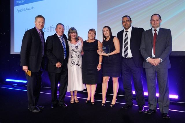 The Halton Scaffolding team pick up their special award for Workington North station