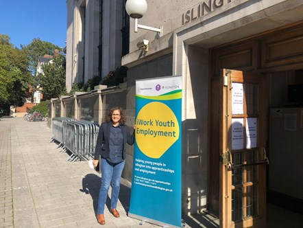 Cllr Asima Shaikh outside the Hospitality Jobs Fair held at Islington Assembly Hall