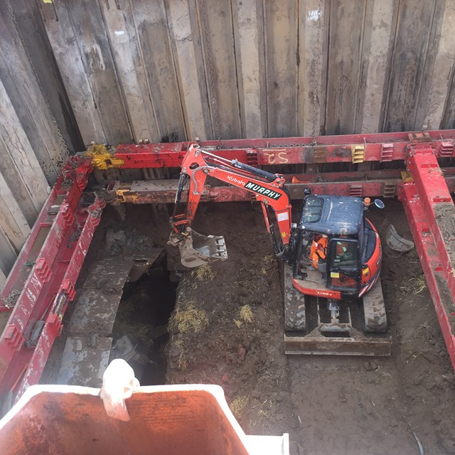 Farnworth Tunnel - creating a pit above the tunnel to safely remove material