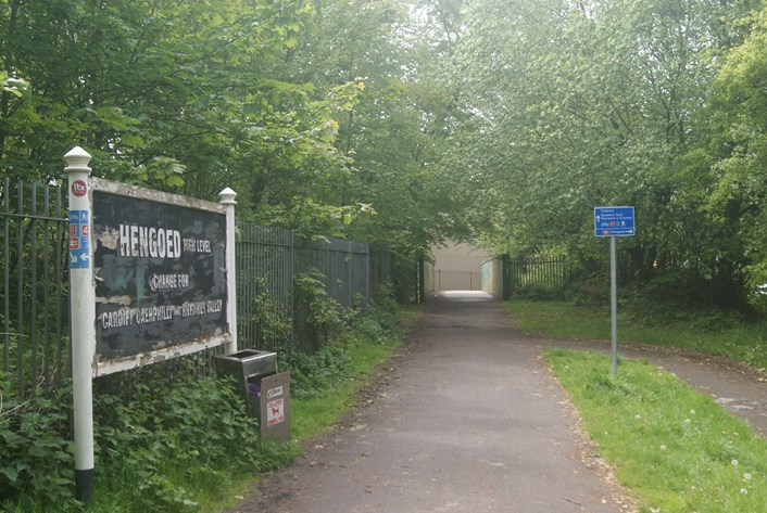 The site of Hengoed High Level station, now an active travel route