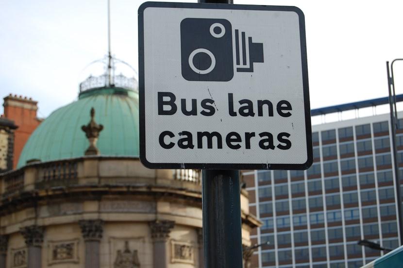 Enforcement cameras added to bus lanes: buslanecamerassign.jpg