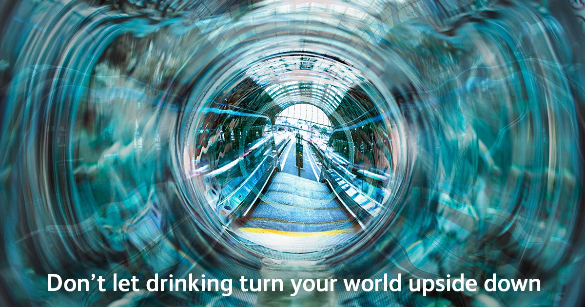 "Revellers in Wales and Borders warned to ""keep a clear head"" around the rail network over the festive season: Don't let drinking turn your world upside down poster-2"