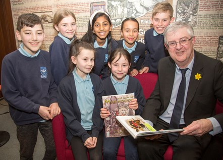 First Minister - World Book Day: First Minister reads extracts of the Mabinogion to school pupils in the national Library of Wales ahead of World Book Day