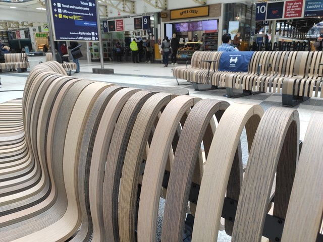 Greener and cleaner new seats installed at Liverpool Street station: Liverpool Street seating