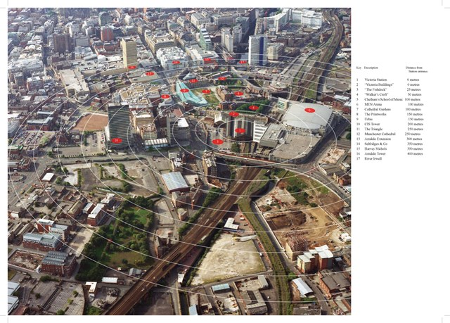 Manchester Victoria: Aerial view of the scope of development