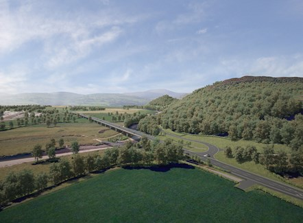 An artist's impression of the A487 New Dyfi Bridge