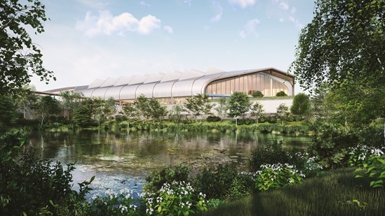 HS2 Ltd shortlists bidders to build Interchange Station in Solihull: View of HS2 Interchange Station from the lake