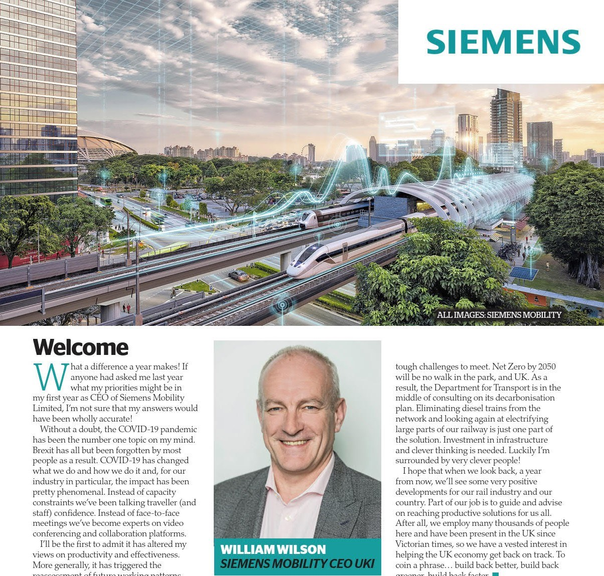 New supplement in RAIL magazine for Siemens Mobility: Siemens cover intro crop