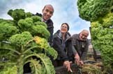 Shettleston Community Growing Project: Local Government and Community Empowerment Minister Marco Biagi meets Julie Christie and  Norrie Holmes at Shettleston Community Growing Project Pic Peter Devlin