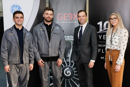 Welsh Government target of creating 100,000 apprenticeships set to be exceeded: Economy Minister Ken Skates meeting apprentices at GE Aviation