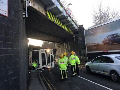 Erdington bridge strike - picture courtesy of West Midlands Fire Service