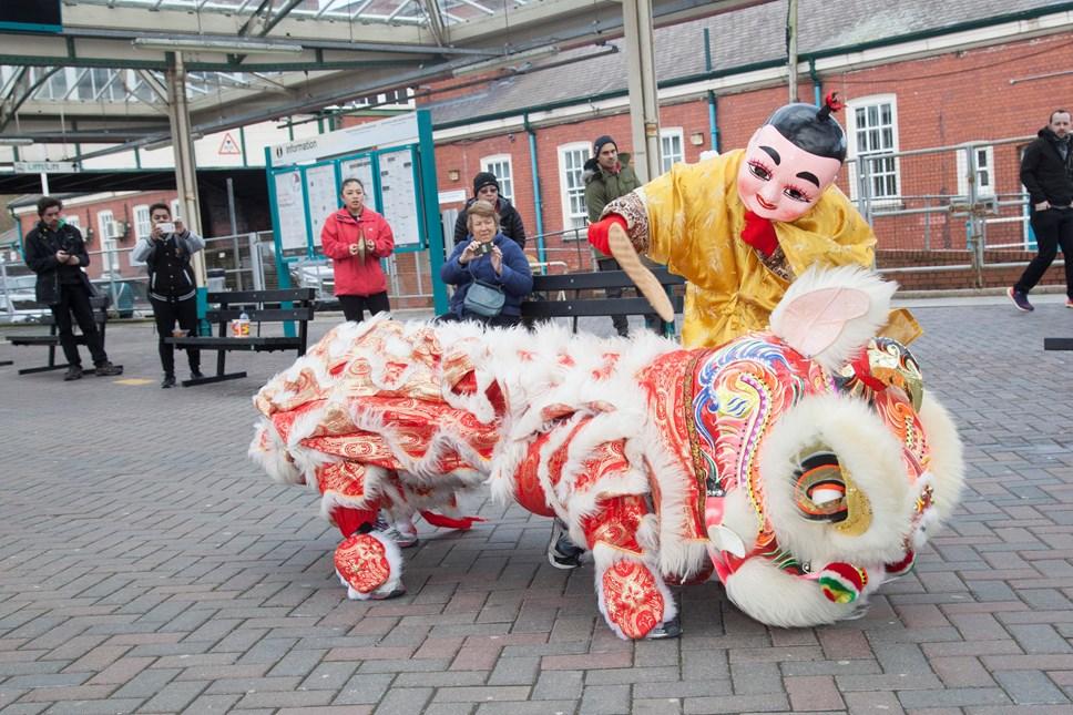 Chinese New Year 'Lion Dance' surprises commuters at Bangor Train Station: BANGOR RAILWAY-4