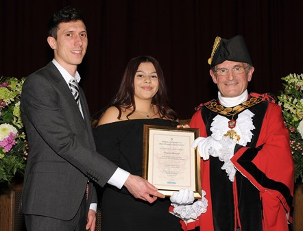 Shauna Maragh - winner of the Ben Kinsella Award 2019: With Ramzy Alwakeel, Editor of the Islington Gazette and Mayor of Islington Cllr Dave Poyser