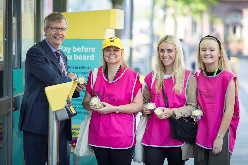Tram travel transforms with simple solution: Contactless Metrolink - TfGM staff at launch