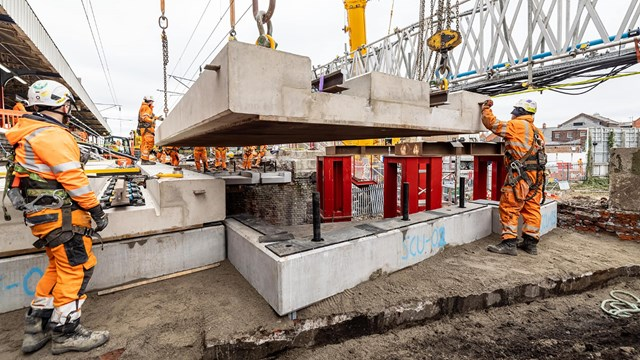Time-lapse shows Warrington Bank Quay Easter bridge lifts: Warrington-Bank-Quay-new-deck-lift-2