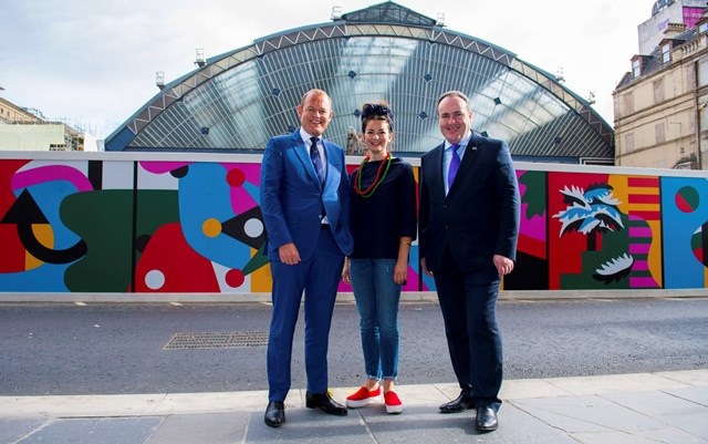 Queen Street hoardings, Alex Hynes, left, Gabriella Marcella and Paul Wheelhouse