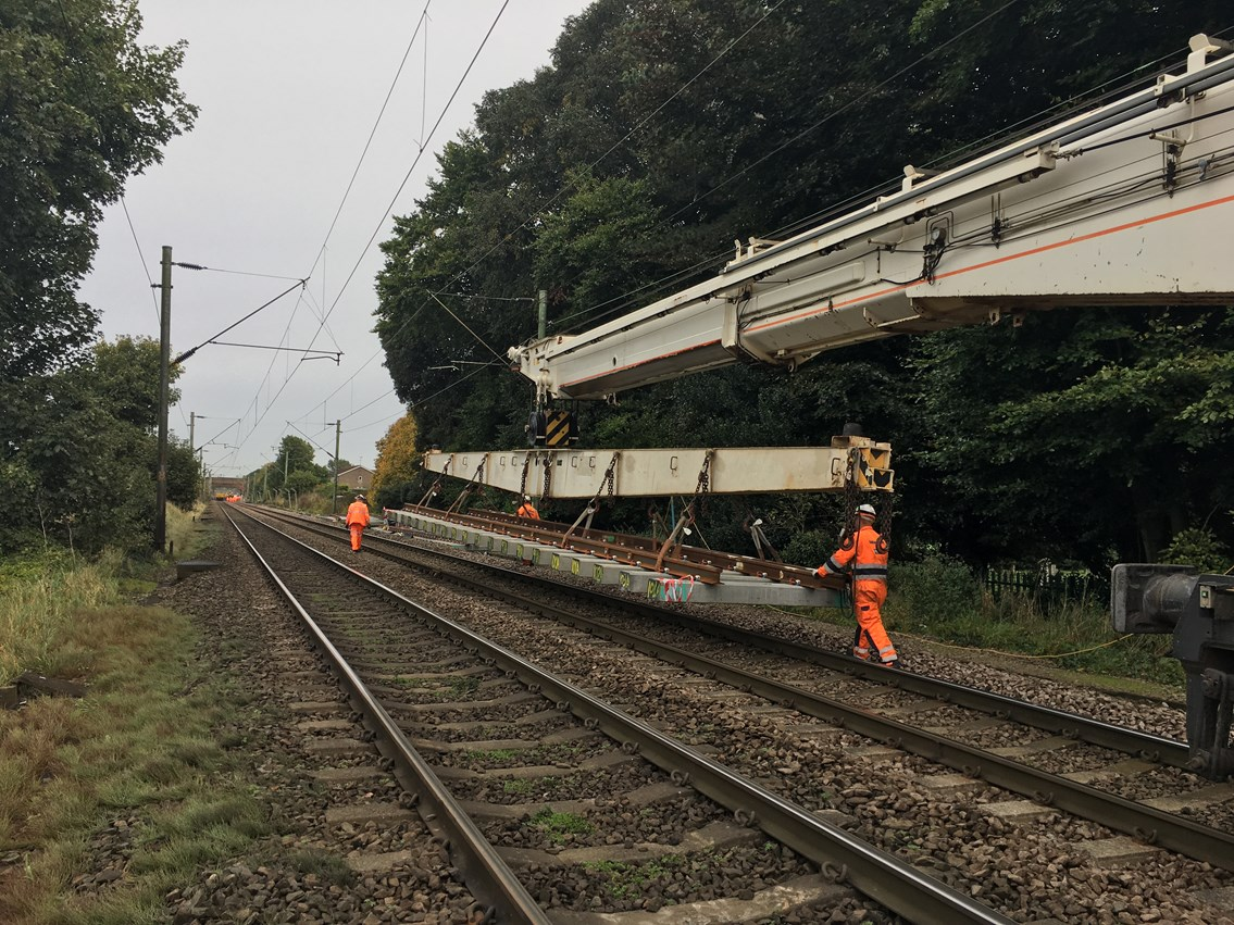 Major track upgrade for Norwich to London passengers this August bank holiday and Autumn: New track on its way to site GEML