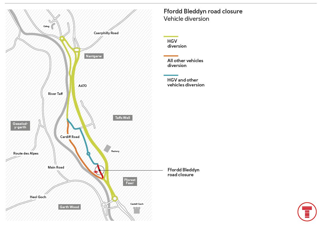 Ffordd Bleddyn road closure vehicle diversion-2