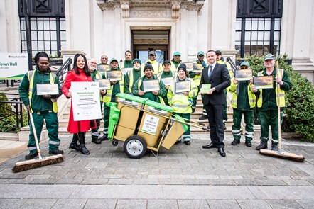 Islington street sweepers celebrate their achievement after Islington won Keep Britain Tidy's Outstanding Service Delivery 2019 award, with Cllr Claudia Webbe and Tony Ralph, head of Islington's street environment services
