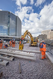 Sleepers lifted into place LBG: Sleepers lifted into place just outside platforms 1 and 2 at London Bridge station. These will form part of the new lines 1 and 2 due to be commissioned over the Easter weekend.