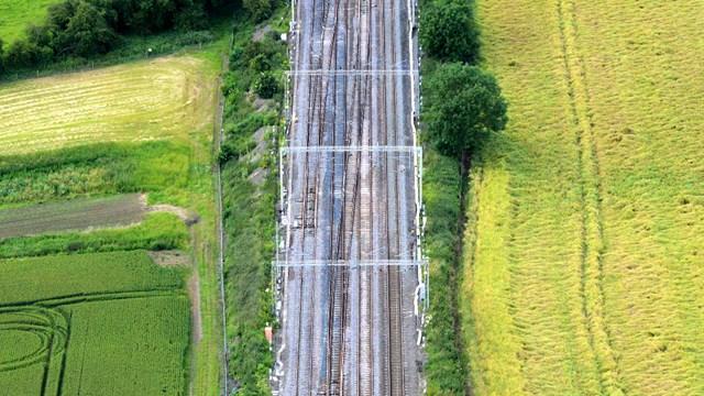 Railway track repairs divert trains on West Coast main line: Hanslope Junction aerial
