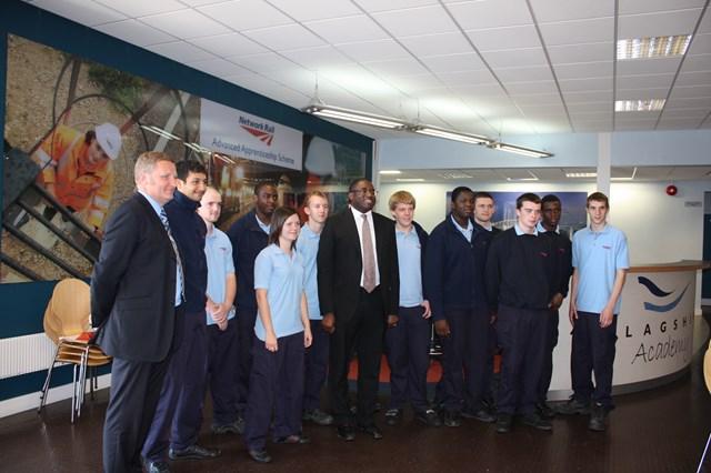 David Lammy MP meets Network Rail apprentices- group